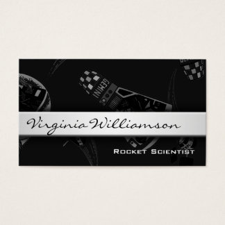 Rocket Scientist Modern Black Business Cards