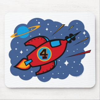 Rocket Ship 4th Birthday Mouse Mat