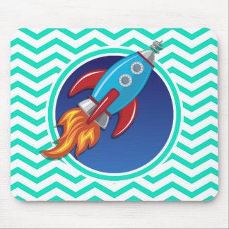 Rocket Ship; Aqua Green Chevron Mouse Pad