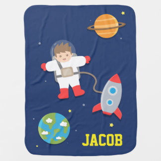 Rocket Ship, Astronaut, Outer Space, For Babies Baby Blanket