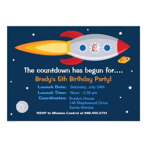 Rocket Ship Birthday Party Invitation