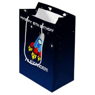 Rocket Ship Birthday Party Personalized Medium Gift Bag