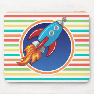 Rocket Ship; Bright Rainbow Stripes Mouse Pads