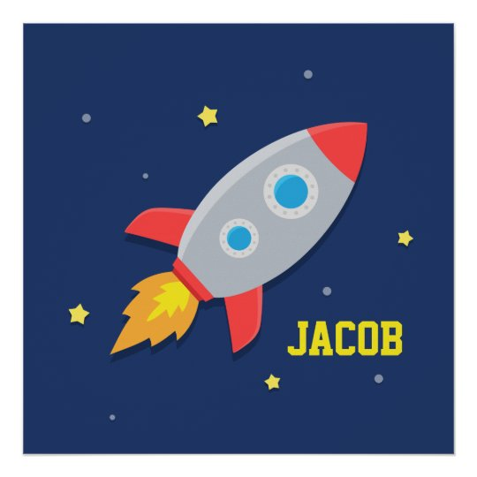 Rocket Ship In Outer Space Kids Room Decor Poster Zazzle Com Au