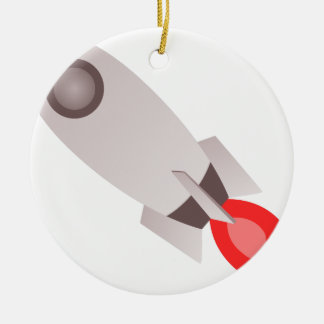 Rocket Ship Launching Ceramic Ornament
