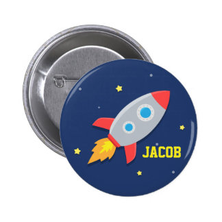 Rocket Ship, Outer Space, For Boys 6 Cm Round Badge