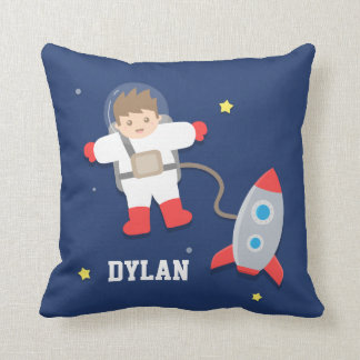 Rocket Ship Outer Space Little Astronaut Boys Room Cushion