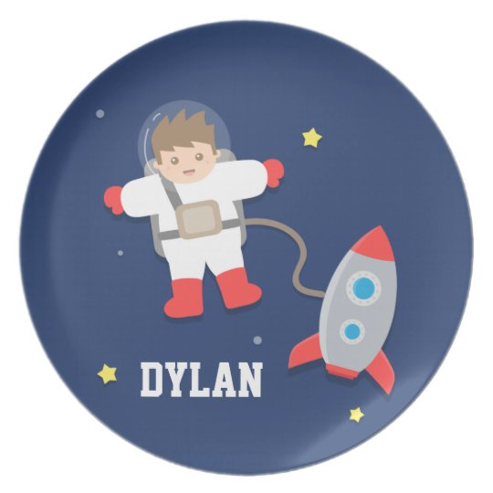 Rocket Ship Outer Space Little Astronaut For Kids Plate