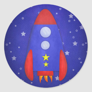 Rocket Ship Party Favor Stickers