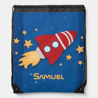 Rocket Ship Drawstring Backpack