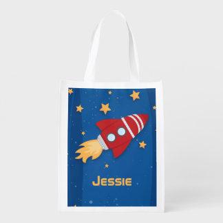 Rocket Ship Reusable Grocery Bag