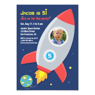 Shop Zazzle's selection of space birthday invitations for your party!