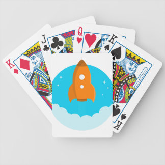 Rocket Ship Taking Off Bicycle Playing Cards