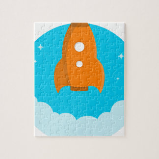 Rocket Ship Taking Off Jigsaw Puzzle