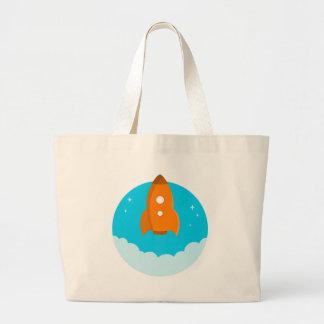 Rocket Ship Taking Off Large Tote Bag