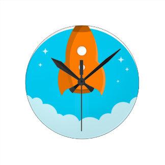 Rocket Ship Taking Off Round Clock