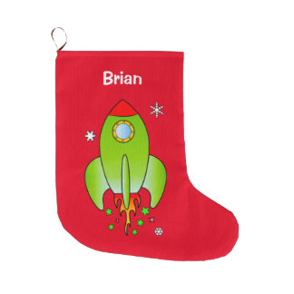 Rocket Ship with Stars and Snowflakes at Christmas Large Christmas Stocking
