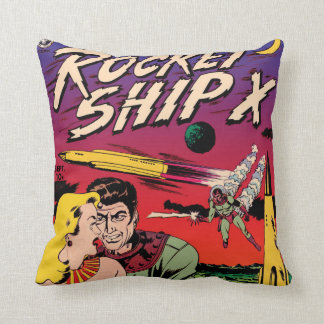 Rocket Ship X Vintage Sci Fi Comic Book Cover Cushion
