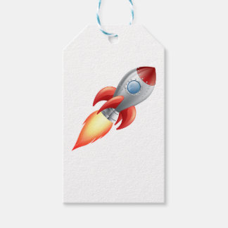 Rocket shooting into space gift tags