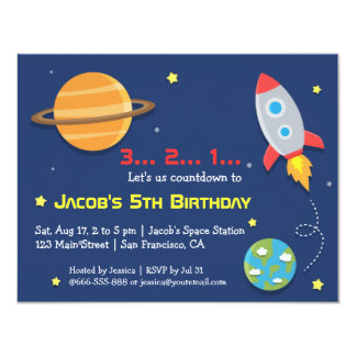 """Rocket To Outer Space Party, Kids Birthday 4.25"""" X 5.5"""" Invitation Card"""