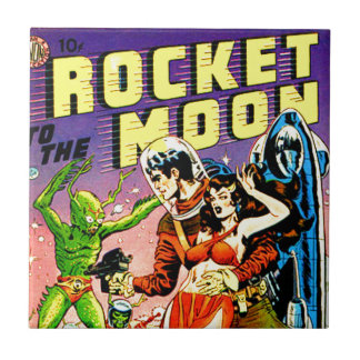 Rocket to the Moon Ceramic Tile