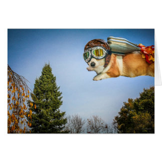 Rocketeer Corgi Saying Hello card
