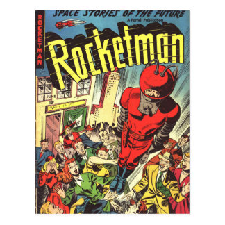 Rocketman vintage comics postcard