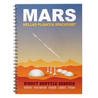 Rockets on Mars Retro Sci-Fi Illustration Spiral Notebook