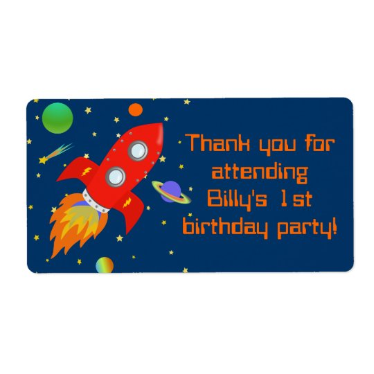 Rocketship Gift Favour Label