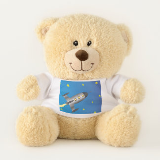 Rocketship starry sky teddy bear