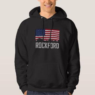 Rockford Illinois Skyline American Flag Distressed Hoodie