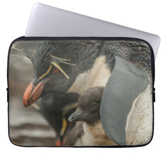 Rockhopper penguin and chick computer sleeve