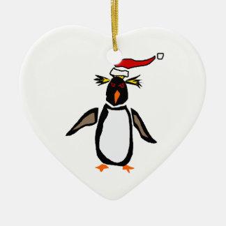 Rockhopper Penguin Christmas Art Ceramic Ornament