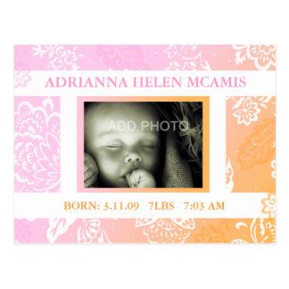 ROCKIN' ADRIANNA BABY ANNOUNCEMENT POSTCARD