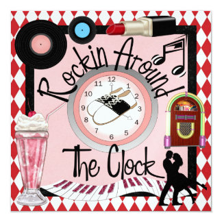 Rockin' Around the Clock Party - SRF 13 Cm X 13 Cm Square Invitation Card