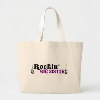 Rockin Big Sister Large Tote Bag