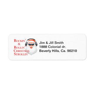 Rockin' Cool Santa Claus With Headphones Return Address Label
