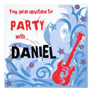 Rockin' guitar party invitation red white & blue