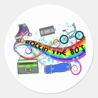 Rockin The 80 s Round Stickers