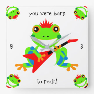 Rockin' Tree Frogs with Red Guitars Square Wall Clock