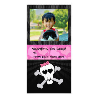 Rockin' Valentines Skull Monster Girl's Valentine Personalized Photo Card