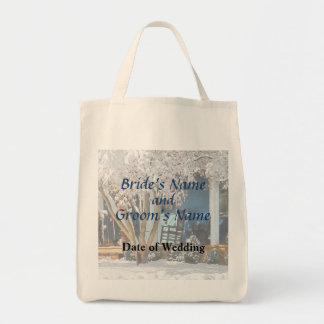 Rocking Chair on Porch in Winter Wedding Products Bag