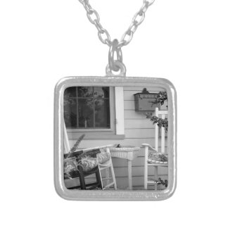 Rocking Chairs Square Pendant Necklace