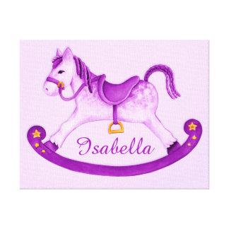 Rocking horse add your name purple nursery art canvas print