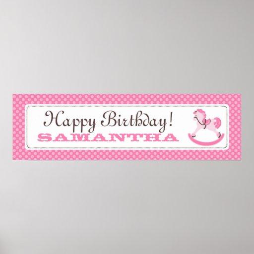 Rocking Horse Birthday Banner for Girls Poster