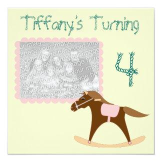 "Rocking Horse Birthday Invitations 5.25"" Square Invitation Card"