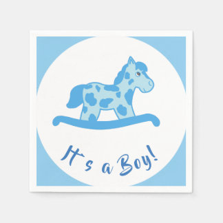 Rocking Horse Boy Baby Shower It`s a Boy Disposable Serviette