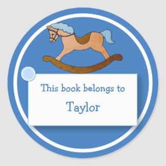 Rocking Horse for Child's Bookplate Classic Round Sticker