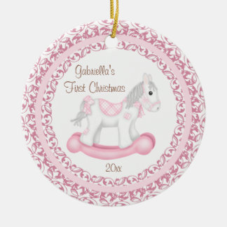 Rocking Horse Girl Baby s First Christmas Ornament