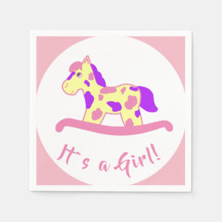 Rocking Horse Girl Baby Shower It`s a Girl Paper Napkin